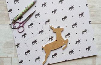 biche en bois percé à customiser, déco papier motifs élan