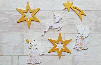 formes en bois à décorer pour noël, anges, étoiles, biche, papier, paillettes