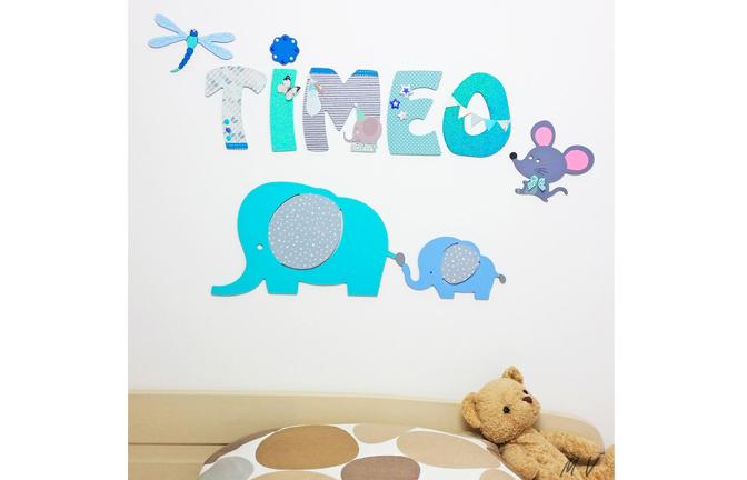 déco diy formes en bois à décorer, prénom garçon timeo, éléphants, souris