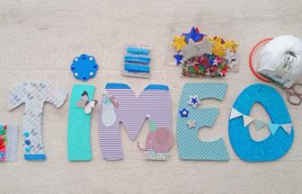 lettres à décorer en bois, prénom garçon timeo, déco chambre diy