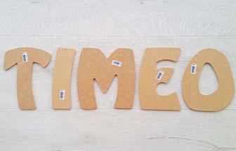 grande lettres majuscules en bois prénom timeo garçon à décorer