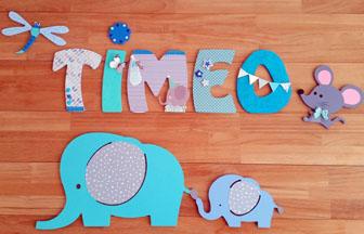 décoration chambre garçon supports bois, éléphants, prénom, souris, libellule