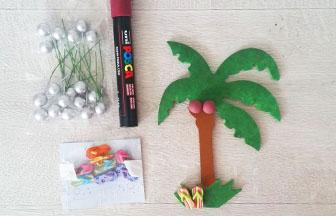 petit palmier bois à décorer, customisation tong à coller et noix coco
