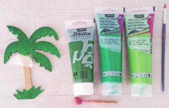 peindre le palmier en bois avec 3 verts différent