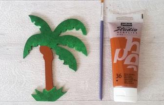 petit palmier à décorer en bois, peindre le tronc marron