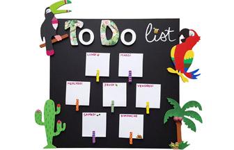décoration formes en bois, to do list à décorer, toucan, cactus, palmier