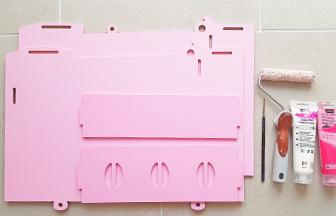 cuisinière en bois à décorer peinture rose pastel