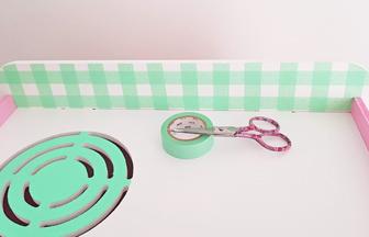 cuisinière en bois à customiser pour enfant, masking tape vert pastel