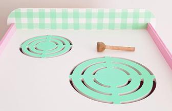 cuisinière en bois enfant, déco diy peinture vert pastel