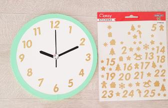 rond en bois à décorer comme une horloge, stickers chiffres