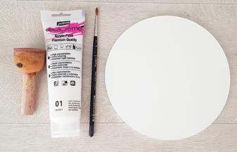 rond à décorer en bois peinture blanc pébéo 2 couches