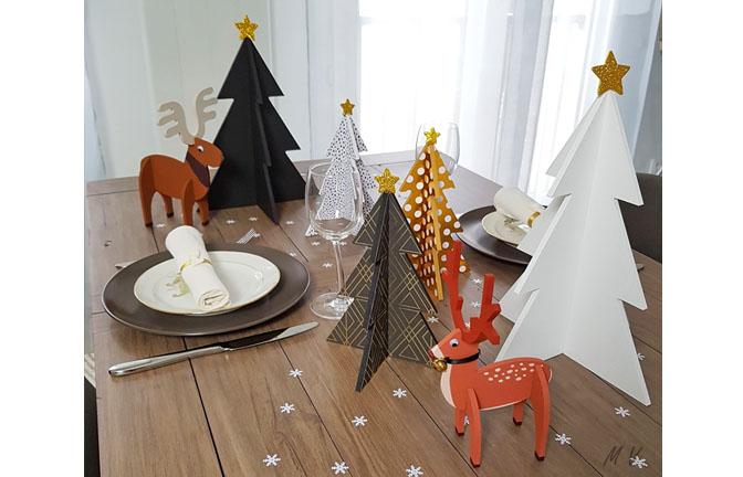 formes en bois à décorer pour la table noël : sapins, élan, et cerf 3d