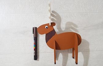élan en bois 3d à décorer déco posca marron pour noël