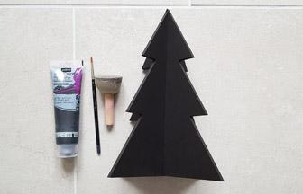 grand sapin 3d en bois déco peinture noir pébéo