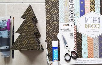 Sapin 3D en bois petite taille à décorer papier modern noir et or