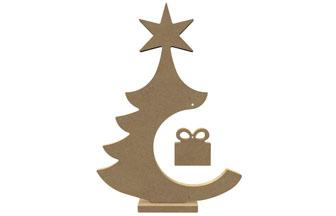 sapin étoile avec socle et paquet cadeau, bois à customiser, décoration diy noël