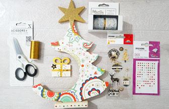 forme en bois sapin sur socle étoile paquet cadeau à customiser, sticker, strass, do it yourself