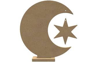 lune sur socle en bois à customiser avec étoile, décoration noël gomille