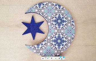 lune étoile sur socle bois à customiser, peinture, papier, paillettes, sticker, déco diy noël